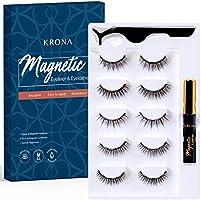 KRONA Magnetic Eyelashes With Eyeliner Kit - Magnetic Eyeliner set - Reusable Falsies With Tweezer - Natural Long Full &...