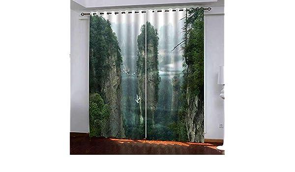Morbido e confortevole 2 PCs modernos paneles súper blando Ojal cortina del apagón, blanco alpino Paisaje Pájaro, Blackout cortinas de la habitación Sala de estar Cuarto de niños mantener caliente ins: Amazon.es: