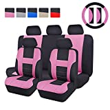 CAR PASS - 14PCS Max Automobile Seat Covers Set Package-Universal fit for Vehicles Blackwith pink With Composite Sponge Inside,Airbag Compatiable (pink)