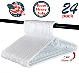 Heavy Duty White Plastic Tubular Hangers, Adult Size, Set of 24 Made in The USA (Super Heavy Duty)