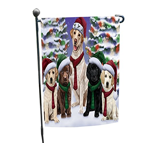 Labradores Dog Christmas Family Portrait in Holiday Scenic Background Garden Flag (Christmas Family Portraits Outdoors)