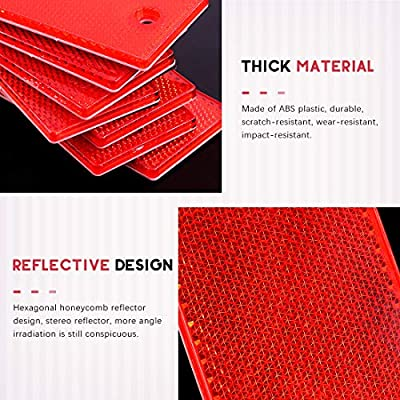 Swpeet 20Pcs Universal Red Plastic Rectangular Stick-on Car Reflector Sticker, Door Reflectors Interior Red Compatible Warning Plate Adhesive Reflector for Most Car: Automotive