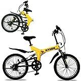 KYUZO 20インチ 折りたたみ自転車 シマノ純正6段変速にZOOM製フロントサス、リアサスを搭載した自転車の九蔵別注MTB! KZ-100 (イエローxブラック)