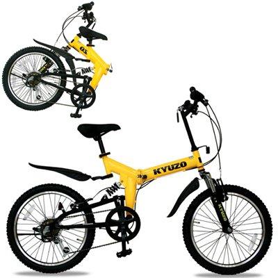 KYUZO 20インチ 折りたたみ自転車 シマノ純正6段変速にZOOM製フロントサス、リアサスを搭載した自転車の九蔵別注MTB! KZ-100 (イエローxブラック) B001UJII8G