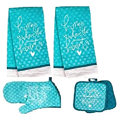 HomeConcept 5 Piece Kitchen Towel Set Includes 2 Towels 2 Potholders 1 Oven Mitt (Blue Heart)
