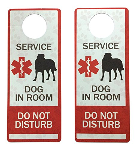 - Leashboss Service Dog Door Hanger - Plastic - 2 Pack - Do Not Disturb Hotel Hanging Sign for Door Knobs