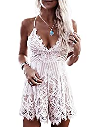 Suvotimo Women Summer Spaghetti Straps Lace Beachwear Jumpsuits Rompers