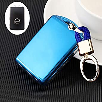 Side Buttons Soft TPU Full Protection keyless Remote Smart Key Fob case Cover Keychain for 2017 2018 2019 2020 Volvo XC60 XC90 S90 V90 XC40 Side Buttons fob TM Blue Royalfox