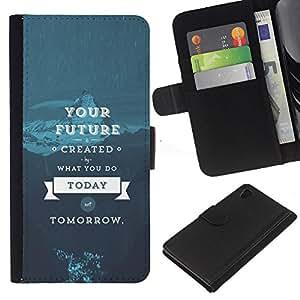 """JackGot ( Su futuro - Sabiduría Vida"""" ) Sony Xperia Z4v / Sony Xperia Z4 / E6508 la tarjeta de Crédito Slots PU Funda de cuero Monedero caso cubierta de piel"""