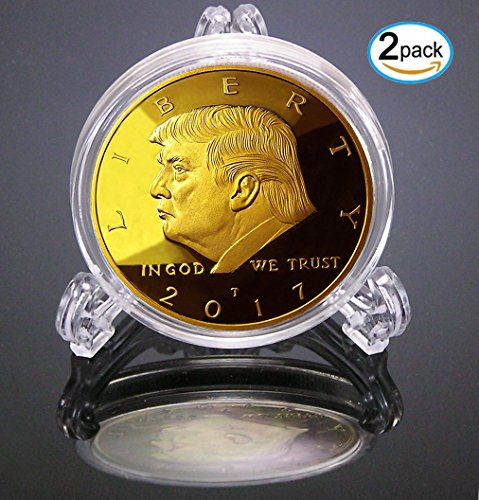 2-Pack 2017 Donald Trump Replica Gold Piece, 45th Presidential Edition 24kt Gold Plated Commemorative Medallion & Display Case by eTradewinds (2-Pack 2017)