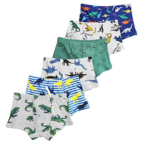 CHUNG Little Big Boys Soft Cotton Boxer Briefs Underwear 5 or 6 Pack Dinosaur Print 3-9Y, 6pk-StripeDino,5-7Y