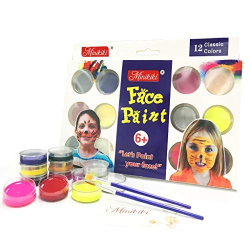 Minikiki Body Paint, 12 Cols Face Paint, Face Painting Kits, Kids Face Painting, Washable Face Paint, Kids Makeup, Non Toxic Body Painting, Ideal for World Cup, Halloween, Christmas, Birthday Parties -