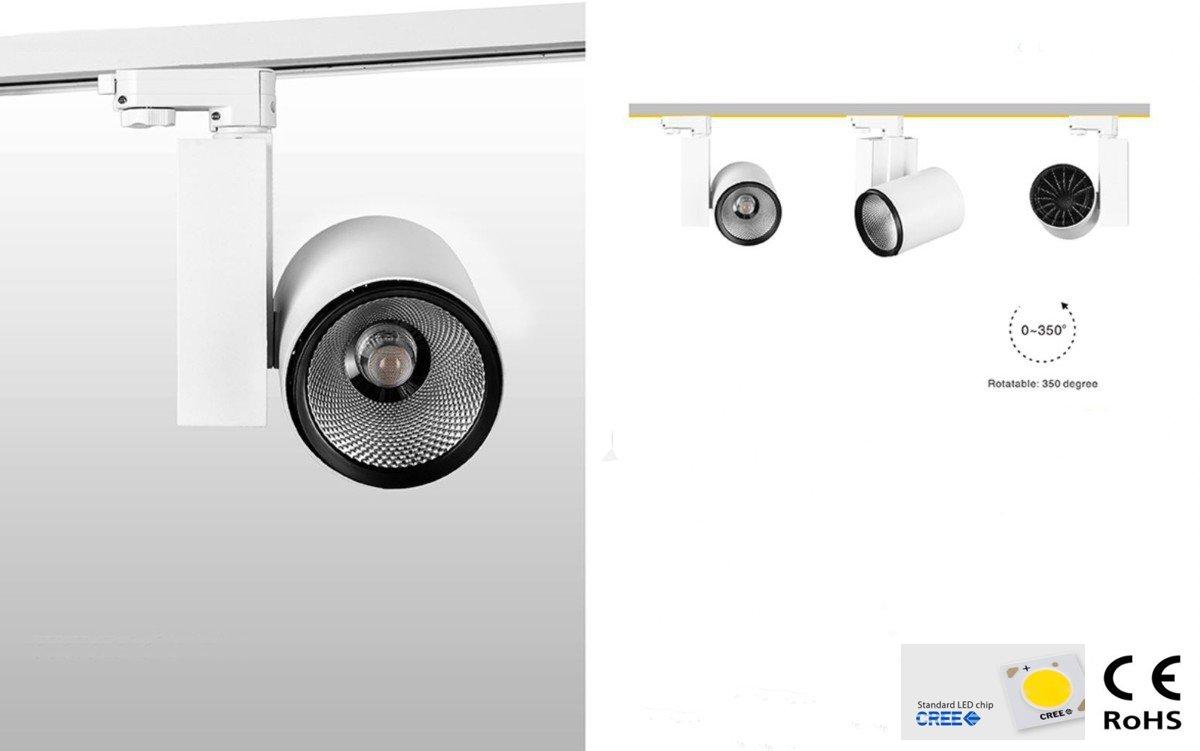 Foco LED iluminación cuadro riel trifásico Hosea CREE 30 W ...