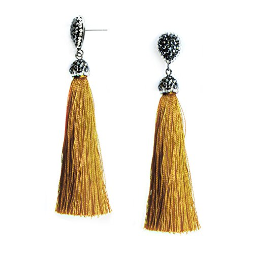 Me&Hz Women's Gold Dangle Long Tassel Drop Earrings Colorful Yellow Tassel Fringe Boho Rhinestone Stud Earrings for Girls