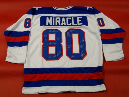 MIRACLE ON ICE AUTOGRAPHED 1980 TEAM USA HOCKEY JERSEY SIGNED BY 15 OLYMPIANS SCHWARTZ