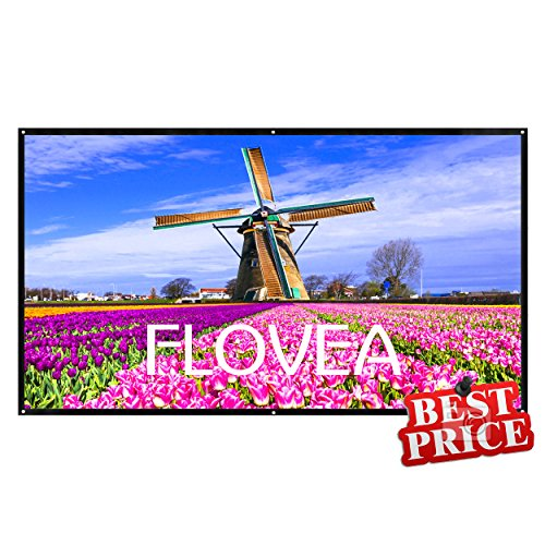 84 Inch Portable Projector Screen, FLOVEA 16:9 Foldable PVC HD Movie Screen, Lightweight, Outdoor Projection Screen for Camping/Home Theater/Education/Office Presentation