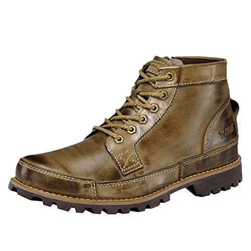 ICEGREY Herren Leder Chukka Stiefel Winter Boots Stiefeletten Kurzschaft Stiefel Khaki EU 42