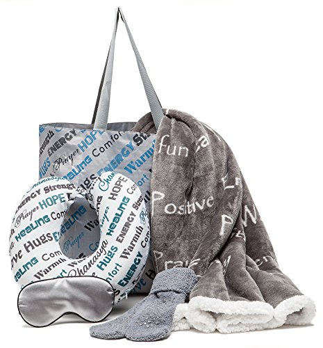 - Chanasya 5-Piece Warm Hugs Positive Energy Healing Thoughts Comfort Caring Message Print Combo Gift Pack Throw Blanket, Neck Pillow, Eye Mask, Tote Bag, Socks - for Women Men Cancer Hospital - Grey