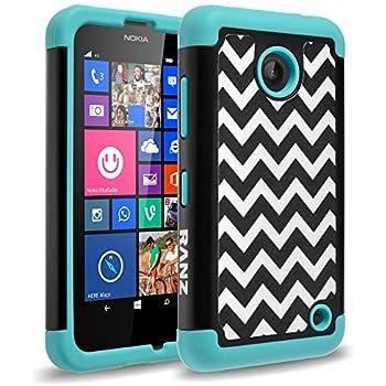 Nokia lumia 635, Nokia lumia 630 Case, RANZ Wave Pattern Print Desgin Impact Dual Layer Shockproof Bumper Hard Case Cover For Nokia Lumia 635 / 630 (Mint)