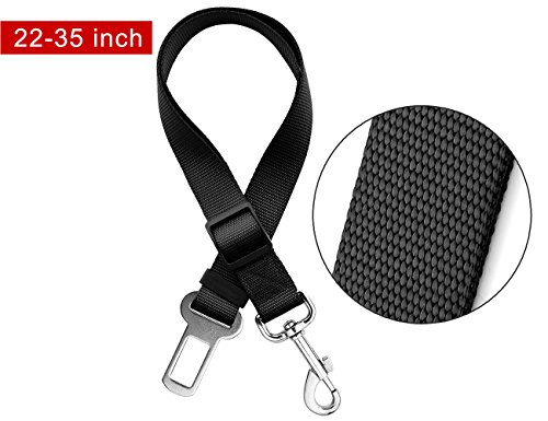 Price comparison product image LIBERRWAY Pet Seat Belt Dog Cat Adjustable Safety Harness Car Seatbelt Travel Protector with Metal Clip Black