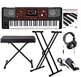 : Korg PA700 61-Key Arranger Keyboard with Knox bench, Double X Stand, Pedal, Headphones and Book