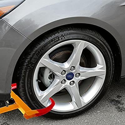 VaygWay Tire Clamp Wheel Lock- Metal Boot Stabilizer Anti Theft- Wheel Chock Lock Car Trailer Wheel-Security Travel Locking Claw Auto- Camper Car Van Truck SUV fit: Automotive