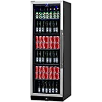 KingsBottle 450 Can Beverage Cooler, Stainless Steel with Glass Door