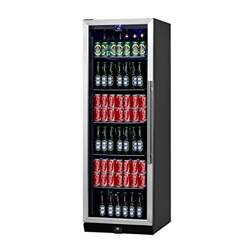 KingsBottle Built-In Beer & Beverage Cooler Refrigerator - 287 Pounds Beer Fridge for 450 Cans of Beer or other Beverage, Dual Temperature Drinks Cooler Stainless Steel Fridge, Chromed Steel Shelves