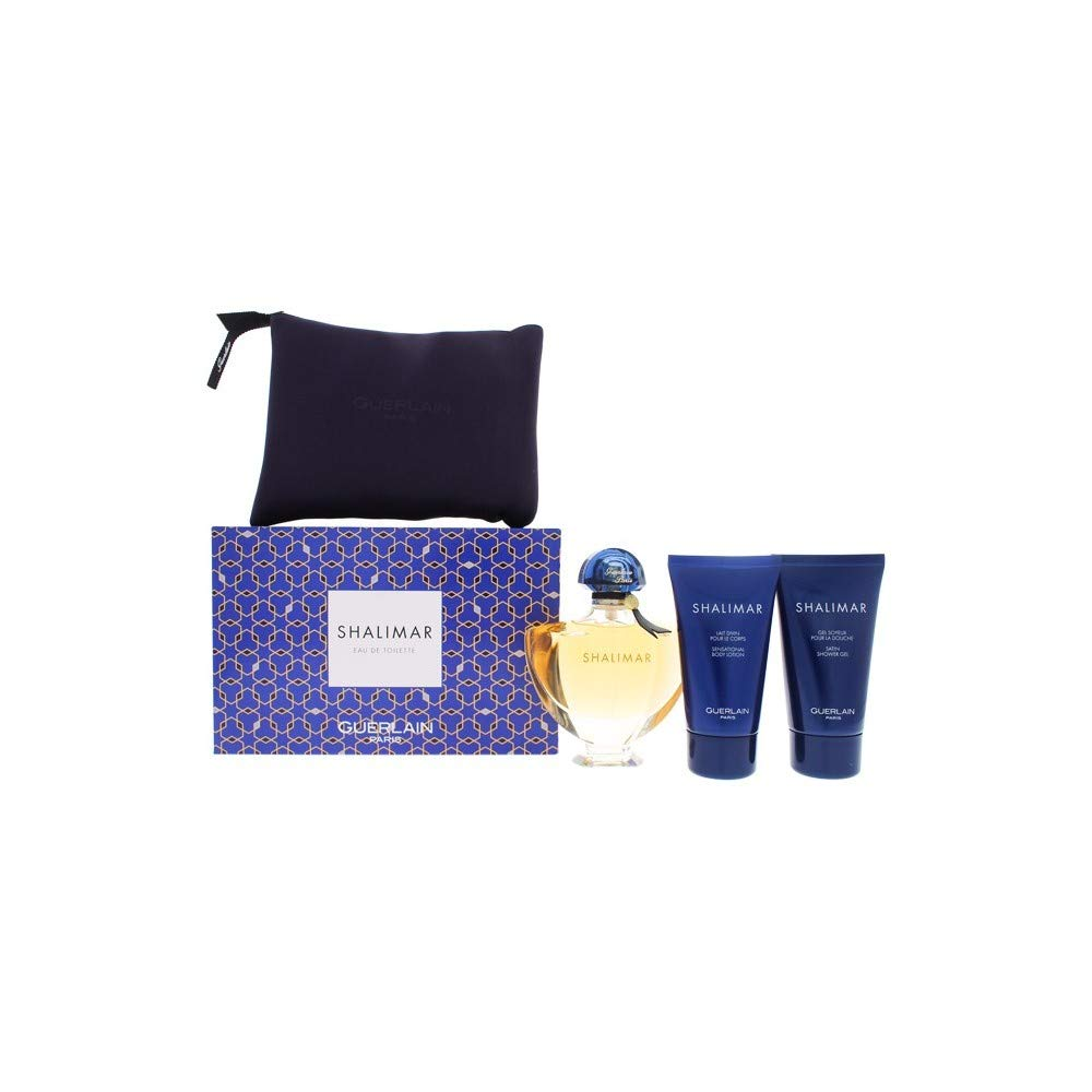 Guerlain Shalimar By Guerlain for Women - 4 Pc Gift Set 3oz Edt Spray, 2.5oz Body Lotion, 2.5oz Shower Gel & Bag, 4count