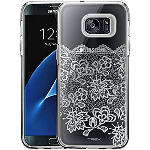 Samsung Galaxy S7 Edge Case, Slim Fit Snap On Cover by Trek Delicate White Lace Clear Case Sales