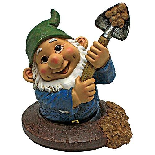 Garden Gnome Sculpted (Design Toscano Garden Gnome Statue - Shoveling Sam Gnome-In-A-Hole - Outdoor Garden Gnomes - Funny Lawn Gnome Statues)
