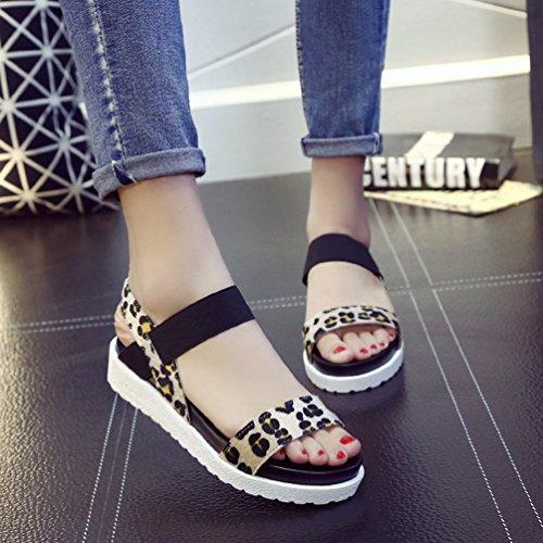 YOUJIA Womens Summer Platform Roman Sandals Peep Toe Elastic Strap Flats Slippers Beach Shoes Leopard qYoR1