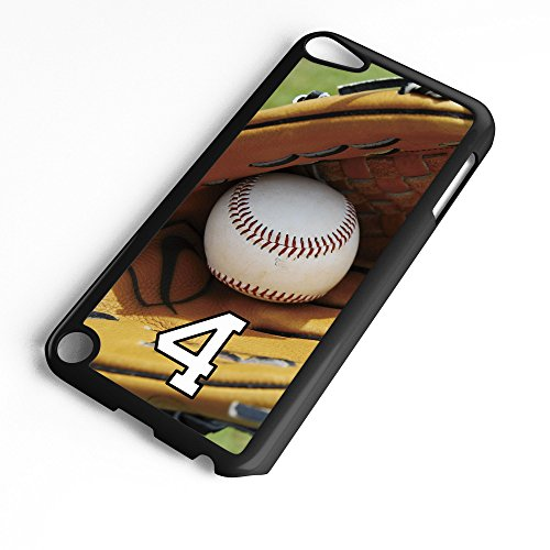 iPod Touch Case Fits 6th Generation or 5th Generation Baseball #8100 Choose Any Player Jersey Number 4 in Black Plastic Customizable by TYD Designs