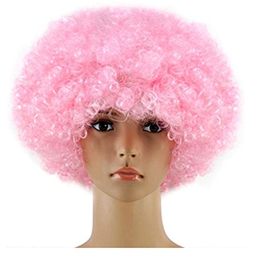 Short Curly Fiber Cosplay Wigs for Girl Women Halloween Costume Hair Light Pink Wig (Adult Short Pink Wig)