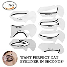 Travelmall 7PCs 7styles Stencils For Perfect Cat Eyeliner And Smoky Eyes Eyebrows Template Card Makeup Tool Stencil for The Perfect Winged Cat Eyeliner,Fish tail,Double winged,Angela Cat,Extravagant Cat, Arabic Eyeliner.(7pcs) by Travelmall