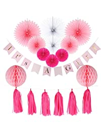 Baby Shower Decorations for Girl, It's A Girl Banner,Pink and Gold Baby Shower Decorations, Tissue Paper, Fans, Honeycomb Paper Balls, Tassels, 13pcs., Hanging ,Party Supplies ,Indoor/Outdoor BOBEBE Online Baby Store From New York to Miami and Los Angeles