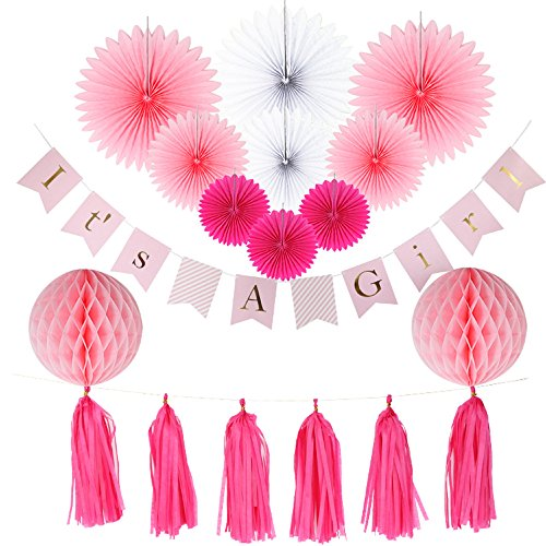 Baby Shower Decorations for Girl, It's A Girl Banner,Pink and Gold Baby Shower Decorations, Tissue Paper, Fans, Honeycomb Paper Balls, Tassels, Hanging ,Party Supplies - Free Moana Full