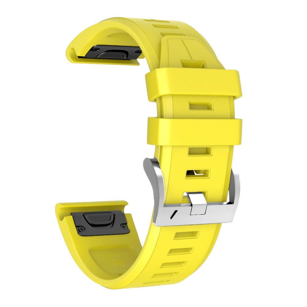 ANCOO バンド Garmin Fenix 5 Plus用 ソフト シリコン 22mm 交換用ストラップ スポーツ リストバンド 腕時計バンド メタルバックル付属 Garmin Fenix 5 Plus/Fenix 5 / Forerunner 935/Approaach S60 B07G4898H5 Silver Buckle-Yellow