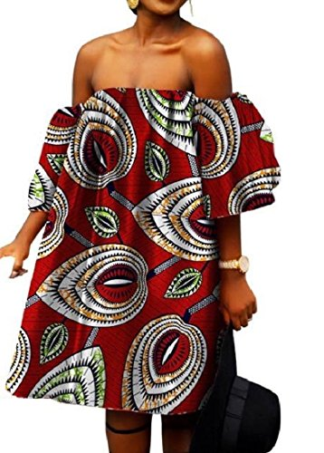 African Shoulder Batik Women Floral Loose Underskirts Coolred Plus Size One Off wqtSPCq