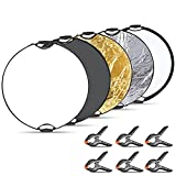 Neewer 5 in 1 Portable Round Lighting Reflector Disk Kit: 43 inches/110 centimeters Reflector Panel with Grip,Carrying Case and 6-Pack Muslin Backdrop Spring Clamps Clips for Photo Studio Photpgraphy