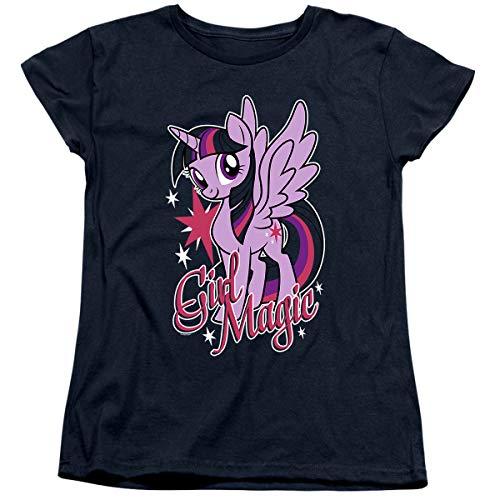 My Little Pony Twilight Sparkle Girl Magic Women's T Shirt & Stickers (Medium) Navy