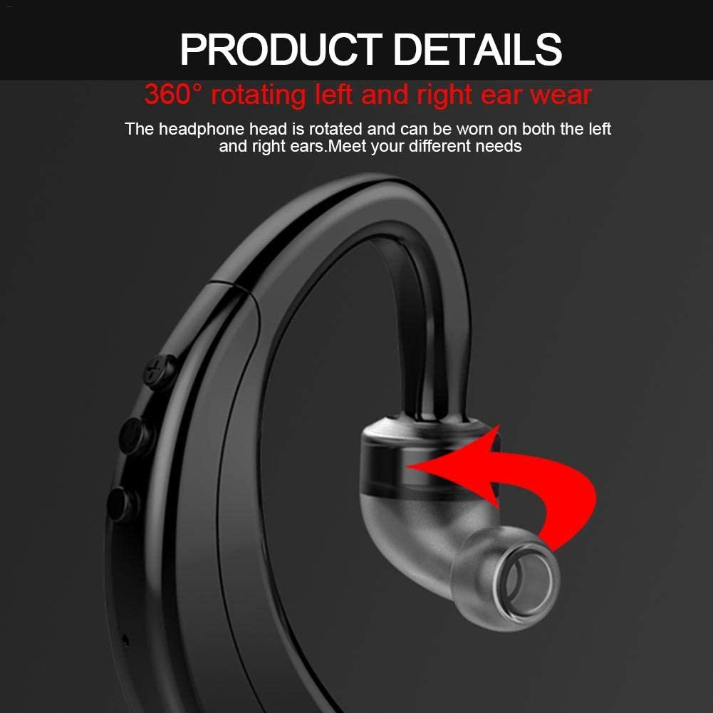 Bluetooth Headset Wireless Headphones Bluetooth 5.0 Handsfree In Ear Headphones Earpiece Rotate 360/° Fits for Left And Right Ears Earbuds for Business//Driving Sports Bluetooth Earbuds