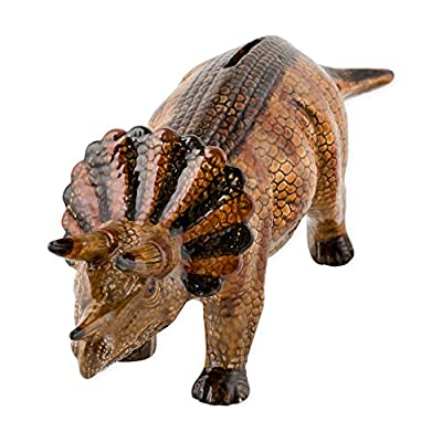 Triceratops Dinosaur Shaped Ceramic Stoneware Hand Painted Coin Bank: Toys & Games