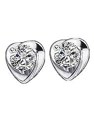 Richy-Glory - 925 Sterling Silver Heart Earrings Purple Cubic Zircon CZ Crystal