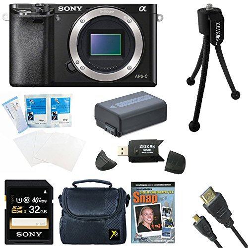 Sony Alpha a6000 Sony a6000 ILCE6000/B ILCE6000 24.3 Interchangeable Lens Camera - Body only BUNDLE with 32GB Class 10 Card, Spare Battery, Deluxe Padded Case, DVD SLR Guide, SD Card Reader, and MORE