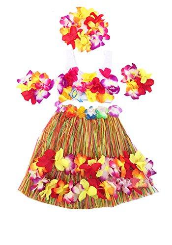 Kids Girl's Elastic Hawaiian Hula Dancer Grass Skirt with Top and Hawaiian Flower Costume Set (Colorful)