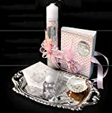 Spanish Handmade Christening/Baptism Set For Girl, Boy, or Unisex : Candle, Bible, Dry Cloth, Sea Shell, Rosary and Holy Water Bottle Silver Tray–Bautizo Religious Gift (Pink)