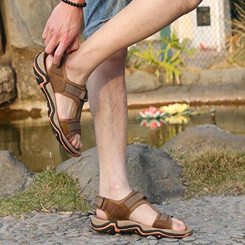 sandali toe tempo uomo slittata sandali libero Scarpe SSYY spiaggia sandali da vera pelle khaki sportivo Imbottiti Open accogliente BWqW7AdRU