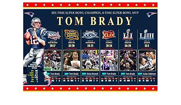 brand new 9f84f 57f37 Amazon.com : PosterWarehouse2017 Tom Brady 6-TIME Super Bowl ...