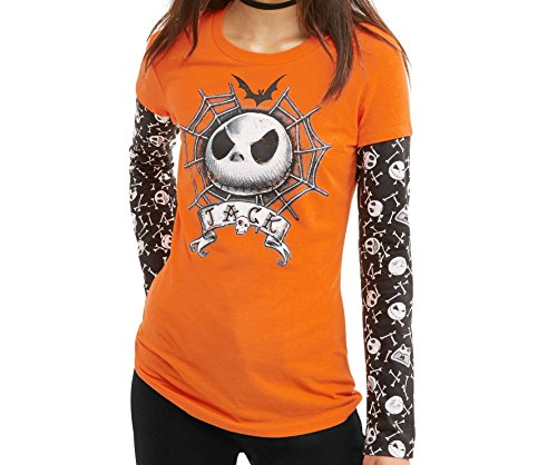 Halloween Disney Juniors Jack Skellington 2Fer Graphic Longsleeve T-Shirt (Large 11/13)